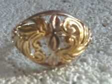 Filagree Ring Sz 7 4gms Sterling Silver With Gold Accent