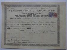 India KARNATAK INDUSTRIAL & PLYWOOD CO LTD. 1945 share certificate