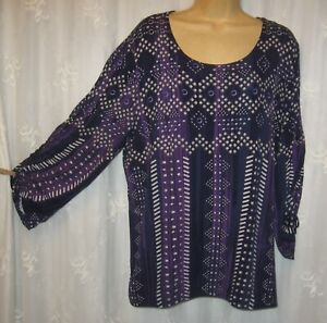 SZ 3 = XL CHICO'S NAVY WHITE PURPLE STRETCH SHEERING ON SLEEVE TUNIC TOP BLOUSE