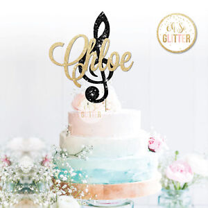 Custom Clef Music Note Cake Topper Glitter Topper Clef Music Cake Personalised