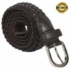 Leatherboss Genuine Leather Men Casual Belt Braided, Brown