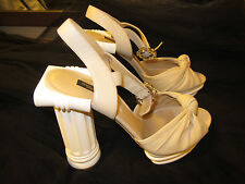 DOLCE & GABBANA RUNWAY Beige Leather Pillar Heel Sandals Pumps Shoes White EU39