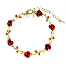 Red ROSE FLOWER made with Swarovski Crystal Floral Bridal Wedding Gold Bracelet