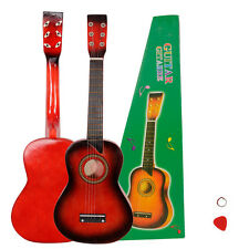 "New 25"" Wood Children Beginners Acoustic Guitar 6 String with Pick Kids Gift Red"