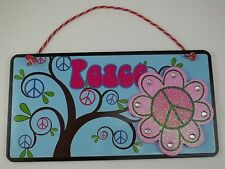 PEACE TEEN WALL SIGN BLUE PINK GIRLS ROOM LOVE HEART BEDROOM 70'S TREE
