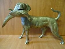 More details for b7 - vintage large heavy brass retriever dog carrying pheasant - 9 1/4