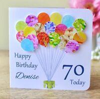 Personalised 70th Birthday Card, Handmade Age 70 Card - Mum / Dad / Friend BHB70