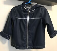 Old Navy Toddler Boys Lined Blue Raincoat w/ Gray and White Accents 12-18 month