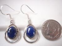 Lapis Oval in Hoop 925 Sterling Silver Dangle Earrings Corona Sun Jewelry