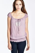 Woman's Smocked Waist Peasant Top Casual Color Lilac Size Medium Free Shipping