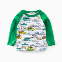 Boys Kids Car Cartoon Long Sleeve T-shirt Spring Fall Clothing NEW