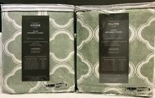 """2 Curtain Panels 54"""" x 80""""  - 100% Cotton - Green/Gray - New in Package"""