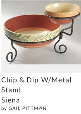 New listing Southern Living Green Chip & Dip Bowl Set Taste Of Home w Metal Stand