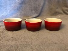 New listing Three ( 3 ) Le Creuset Stoneware French Ramekins Red