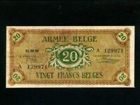 Belgium:P-M5,20 Francs 1946 * Military Issue * ARMEE * VF *