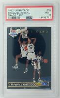 1993 93 Upper Deck Trade Card Shaquille O'Neal Rookie RC #1b, Graded PSA 9