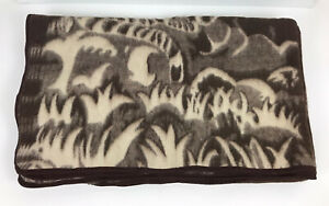 Vintage Camel Wool Twin Size Brown Tigers Reversible Blanket