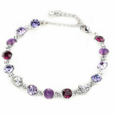 Fashion Jewelry Purple Amethyst Round CZ 18K White Gold Plated Tennis Bracelet