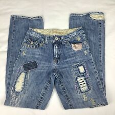 LIMITED TOO Denim Patches, Embellishment, Distressed, Girls' Jean Sz 12 Slim