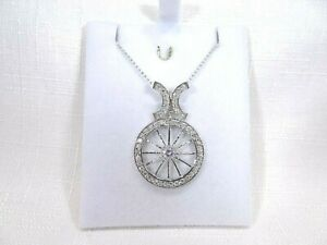 White Cubic Zirconia Solid Sterling Silver Italy Pendant & Chain