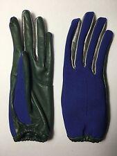 CHRISTMAS PARTY BALENCIAGA Cobalt Blue Green Metallic Silver Leather Gloves 7.5