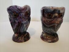 Imperial Glass Purple Slag Owl Creamer And Sugar Set