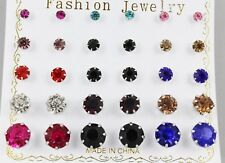 Set 15 pair round faceted stud post crystal earrings graduated size multi color