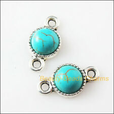 5 New Retro Charms Tibetan Silver Turquoise Round Pendants Connectors 10x18.5mm