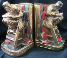 """Waddell's Vintage Pair Of 8 1/2"""" Metal Bookends Featuring Chinese Book Scholars"""