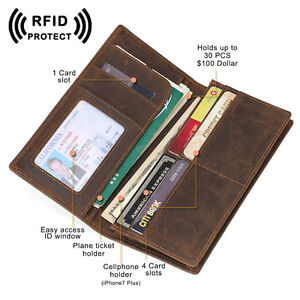 Genuine Leather RFID Long ID Wallet Men's Bifold Slim Cards Tickets Holder Purse