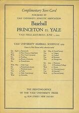 1929 Princeton vs Yale baseball scorecard (rare)