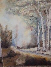 Huile Sur Toile/ PAYSAGE AU BOULEAUX  /SIGNÉE R. VAN LEUVEN/ 60 x 70cm
