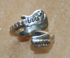 Sterling Silver Electric Guitar Ring - adjustable wrap