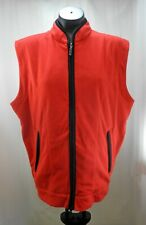 Descente International Red Black Fleece Zip Front Vest - Men's L
