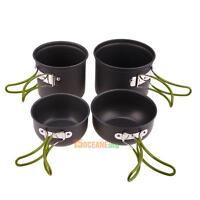 4pcs/Set Outdoor Camping Hiking Cookware Backpacking Cooking Picnic Bowl Pot Pan