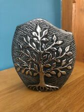 Modern Contemporary Tree Of Life Vase Silver Grey Ceramic Gift New & Boxed 21cm