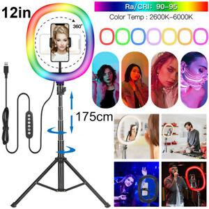 12'' LED Ring Licht Handyhalter Kit Selfie Fotografie Beauty Lampe mit Stativ DE