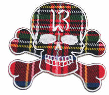 A1154 Aufnäher Patch Rockabilly Old School Tattoo Skull Schädel 13 Tartan Punk