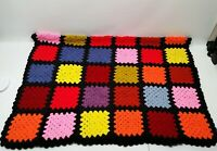 """Mid-Century Hand Knit Crochet Afghan Throw Blanket Colorful Squares 60""""x 39"""""""