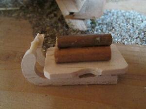 Krippenzubehör - Schlitten mit Holzladung - Naturholz unbehandelt!!