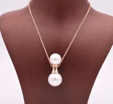 """Rose Pink 925 Silver Snowman with Scarf Simulated Shell Pearl Pendant Chain 18"""""""