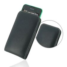 Pdair Leather Vertical Pouch Case Carry Cover for Nokia Lumia 530 - Black