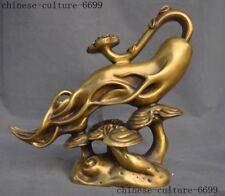 "12"" old China brass auspicious ruyi longevity Ginseng Ganoderma lucidum statue"