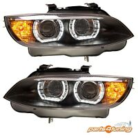 XENON HEADLIGHTS BMW 3 SERIES E92 E93 2006-2010 BLACK PROJECTOR U-TYPE DRL LAMPS