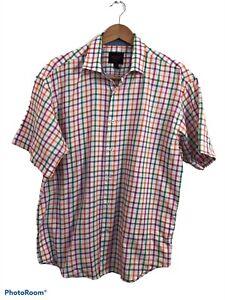 Linea Uomo Modern Fit Men's Rainbow Plaid Checkered Collared Dress Shirt Size XL