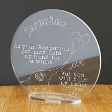 Personalised Godparent Godchild Elephant Plaque Christening Baby Keepsake Gift