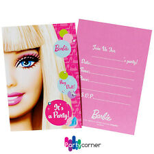 Barbie Party Supplies INVITATIONS  INVITES Pack Of 8
