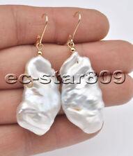 P6854 38mm White Baroque Flat Keshi Reborn Pearl Dangle Earring