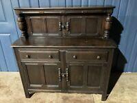 Vintage Oak Priory Court Cupboard Sideboard Cocktail Cabinet Brown Retro #L