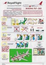 Royal Flight Safety Cards Boeing B767-300